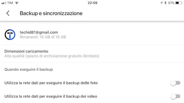 Google Foto iOS Spazio