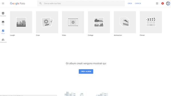 Google Foto Album Spazio