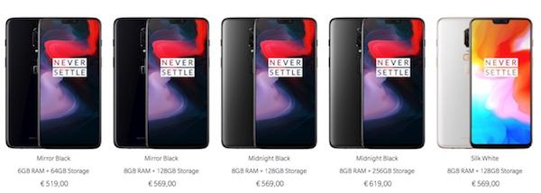 OnePlus 6 colorazioni modelli